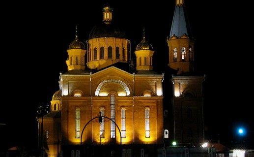 фото церкви Рождества Христова в Краснодаре вид ночью