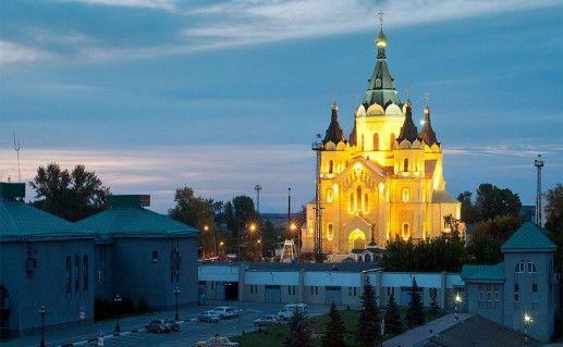 вид на Александро-Невский собор в Нижнем Новгороде фотография