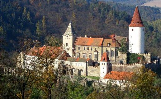 фотография вида на чешский замок Кривоклат