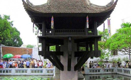 фотография вида вблизи на пагоду на одном столбе в Ханое