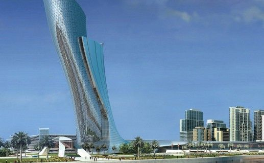небоскреб Capital Gate в Абу-Даби фотография