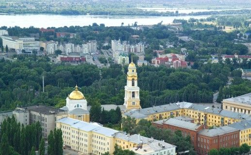 вид сверху на Липецкий Христорождественский собор фото
