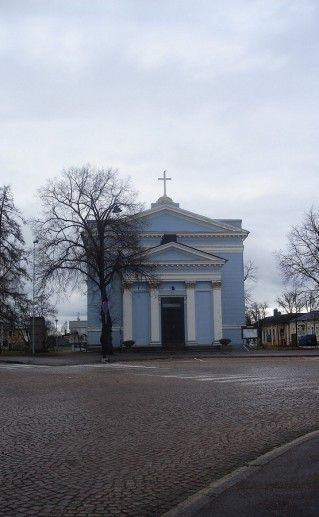 Лютеранская церковь в Хамине вид издали фото