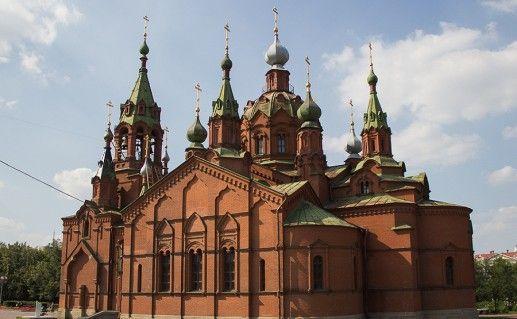 вид сбоку на челябинскую церковь Александра Невского фото