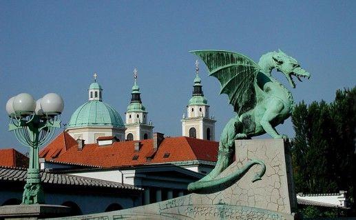 фотография люблянского Драконового моста