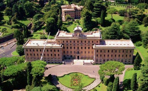 фотография вида сверху на сады Ватикана